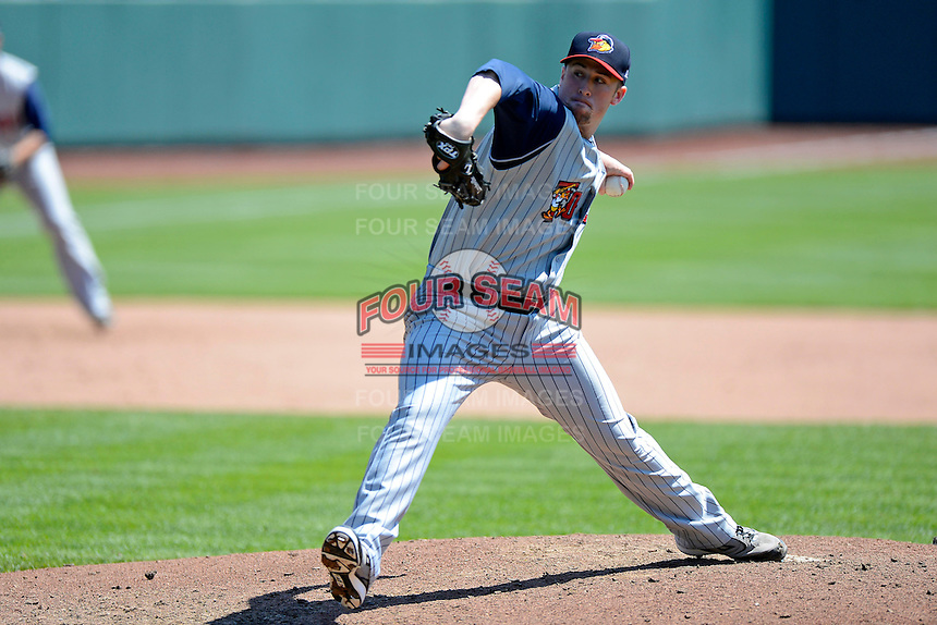Toledo Mudhens pitcher Matt Hoffman #21 during a game against the Columbus Clippers on April 22, 2013 at Huntington Park in Columbus, Ohio.  Columbus defeated Toledo 3-0.  (Mike Janes/Four Seam Images)