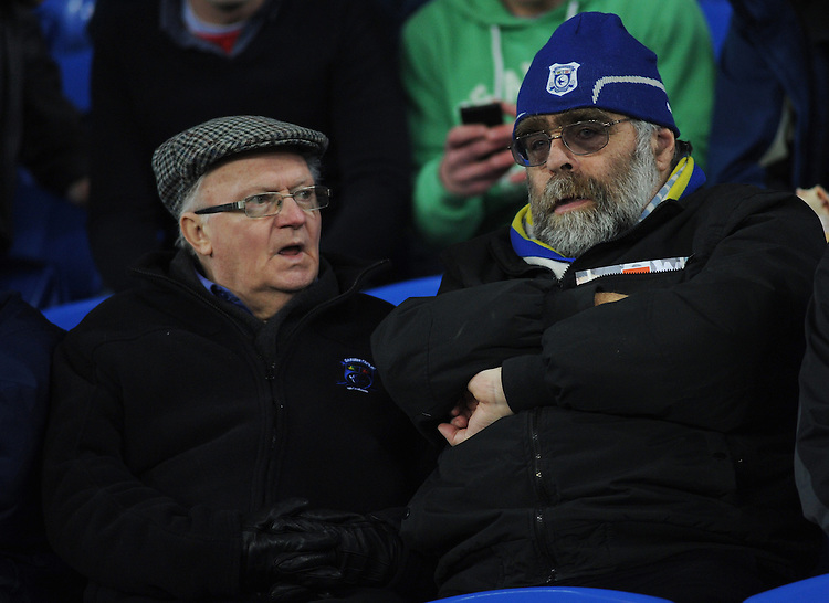 Cardiff City fans look on during the pre-match warm-up <br /> <br /> Photographer Kevin Barnes/CameraSport<br /> <br /> Football - The Football League Sky Bet Championship - Cardiff v Bournemouth - Tuesday 17th March 2015 - Cardiff City Stadium - Cardiff<br /> <br /> &copy; CameraSport - 43 Linden Ave. Countesthorpe. Leicester. England. LE8 5PG - Tel: +44 (0) 116 277 4147 - admin@camerasport.com - www.camerasport.com