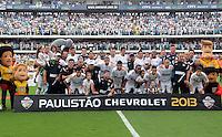 Santos SP, 19 maio 2013 - SANTOS X CORINTHIANS  - Jogadores do Santos durante partida da final do campeonato paulista de 2013  no Estadio da Vila Belmiro em Santos, Litoral de  de Sao Paulo, neste domingo , 19. (FOTO: ALAN MORICI / BRAZIL PHOTO PRESS).