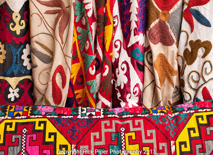Turkish Textiles 03 - Turkish embroidered fabrics at Arasta Bazaar, Sultanahmet, Istanbul, Turkey
