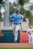 Tampa Bay Rays catcher Anthony Bemboom (67) rounds the bases after hitting a home run in the top of the ninth inning during a Grapefruit League Spring Training game against the Baltimore Orioles on March 1, 2019 at Ed Smith Stadium in Sarasota, Florida.  Rays defeated the Orioles 10-5.  (Mike Janes/Four Seam Images)