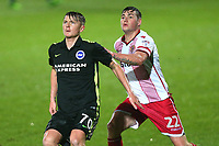 James Tilley of Brighton and Kevin Toner of Stevenage during Stevenage vs Brighton & Hove Albion Under-21, Checkatrade Trophy Football at the Lamex Stadium on 7th November 2017