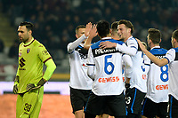 25th January 2020; Olympic Grande Torino Stadium, Turin, Piedmont, Italy; Serie A Football, Torino versus Atalanta; Atalanta players celebrate with Josip Ilicic of Atalanta after scoring for 0-1 in the 17th minute