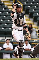 Bradenton Marauders catcher Chris Stewart (38) during a game against the Palm Beach Cardinals on April 8, 2014 at McKechnie Field in Bradenton, Florida.  Bradenton defeated Palm Beach 4-3.  (Mike Janes/Four Seam Images)