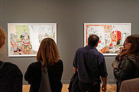 """Pictured: Two of the paintings. Wednesday 03 April 2019<br /> Re: Official opening of Stefanos Rokos' exhibition """"No More Shall We Part"""" with paintings based on the 2001 Nick Cave and The Bad Seeds album with the same title, Benaki Museum, Athens, Greece."""