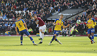 West Ham United's Marko Arnautovic with a second half shot<br /> <br /> Photographer Rob Newell/CameraSport<br /> <br /> The Premier League - West Ham United v Southampton - Saturday 4th May 2019 - London Stadium - London<br /> <br /> World Copyright © 2019 CameraSport. All rights reserved. 43 Linden Ave. Countesthorpe. Leicester. England. LE8 5PG - Tel: +44 (0) 116 277 4147 - admin@camerasport.com - www.camerasport.com