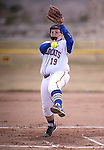 Western Nevada College Wildcats' Nicole Lesniak pitches against College of Southern Idaho at Edmonds Sports Complex, in Carson City, Nev., on Friday, Feb. 27, 2015. CSI won the opener 11-2.<br /> Photo by Cathleen Allison/Nevada Photo Source