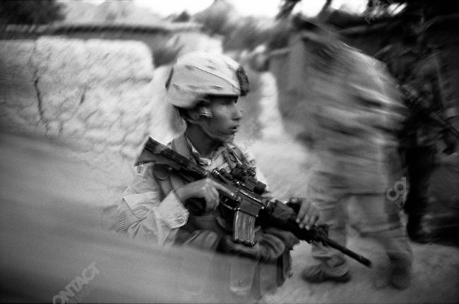 1st Batt. 508th Airborne, Legion Co. searching for Taliban in the village of Gonbaz area, Shawali-Kot, Kandahar Province, October 2005.