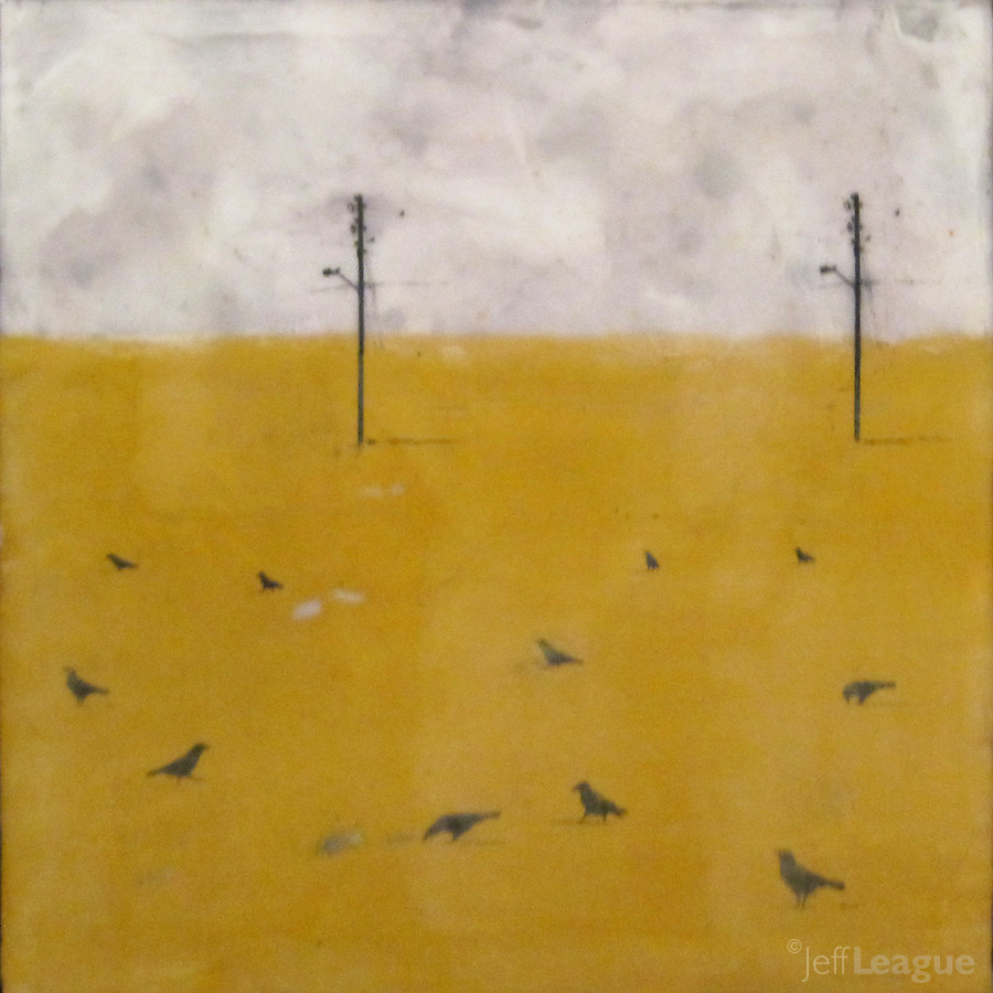 Mixed media encaustic photo painting of crows in yellow field with telephone lines.