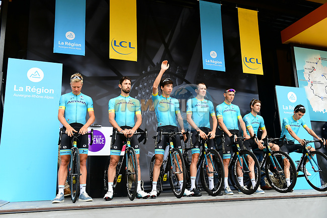 Astana Pro Team introduced on stage at sign on before Stage 1 of the 2018 Criterium du Dauphine 2018 running 179km from Valence to Saint-Just-Saint-Rambert, France. 4th June 2018.<br /> Picture: ASO/Alex Broadway | Cyclefile<br /> <br /> <br /> All photos usage must carry mandatory copyright credit (© Cyclefile | ASO/Alex Broadway)