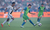 Carson, CA - Saturday July 29, 2017: Giovani dos Santos, Cristian Roldan during a Major League Soccer (MLS) game between the Los Angeles Galaxy and the Seattle Sounders FC at StubHub Center.