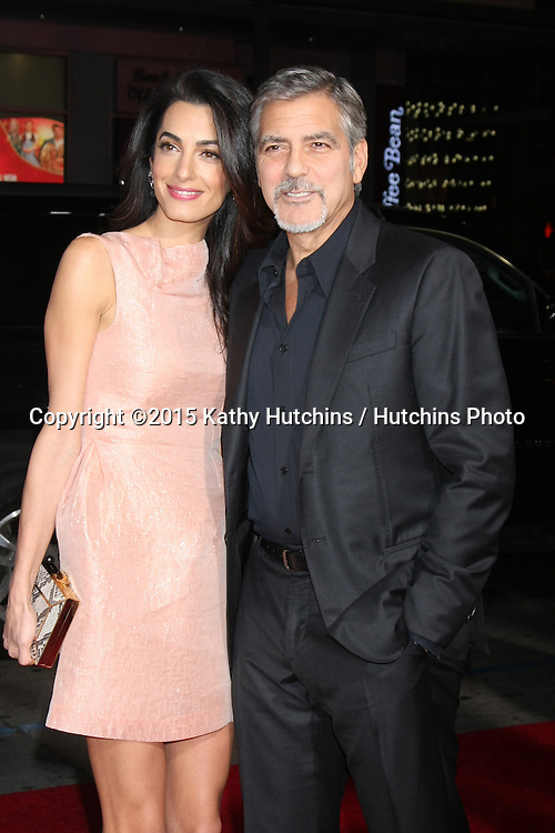 "LOS ANGELES - OCT 26:  Amal Alamuddin Clooney, George Clooney at the ""Our Brand is Crisis"" LA Premiere at the TCL Chinese Theater on October 26, 2015 in Los Angeles, CA"