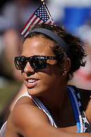 Casey Nogueira (27) of Sky Blue FC watches the finals of the 2011 FIFA Women's World Cup prior to a Women's Professional Soccer (WPS) match between Sky Blue FC and the Western New York Flash at Yurcak Field in Piscataway, NJ, on July 17, 2011.
