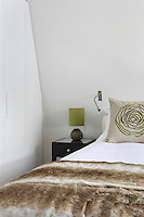 Storage has been neatly built into the sloped ceiling of this top floor bedroom