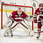 15 November 2015: University of Massachusetts Minuteman Goaltender Nic Renyard, a Freshman from Victoria, British Columbia, in third period action against the University of Vermont Catamounts at Gutterson Fieldhouse in Burlington, Vermont. The Minutemen rallied from a three goal deficit to tie the game 3-3 in their Hockey East matchup. Mandatory Credit: Ed Wolfstein Photo *** RAW (NEF) Image File Available ***