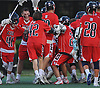 Cold Spring Harbor teammates celebrate after their 17-9 win over Locust Valley in the Nassau County varsity boys lacrosse Class C final at Hofstra University on Tuesday, May 31, 2016.