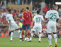 07.09.2012 Pontevedra, Spain. Friendly match between teams from Saudi Arabia vs Spain (4-0). Pasarón played at the stadium. The photo shows Gerard Pique Bernabeu (Spanish defender of Barcelona)