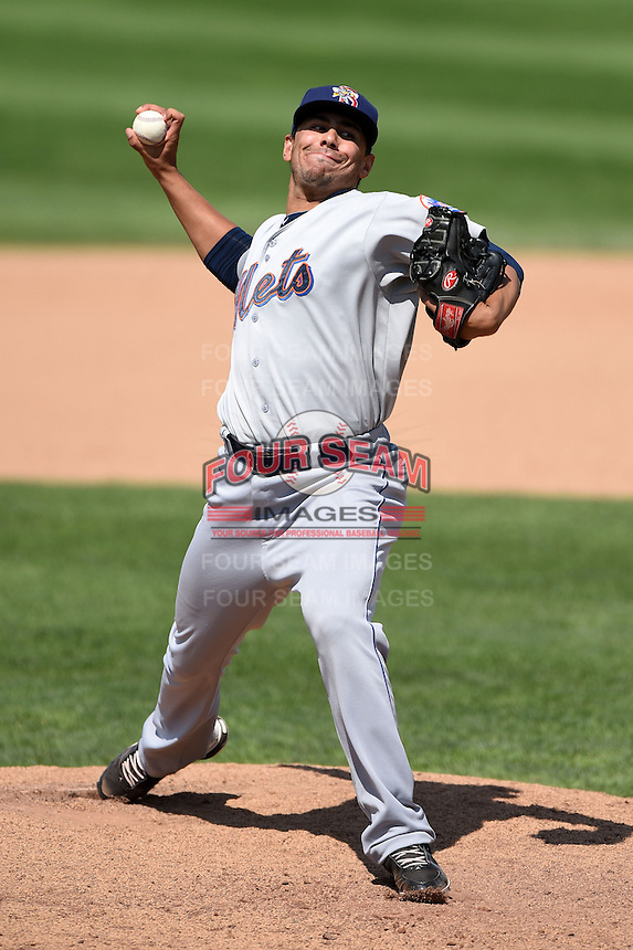 Binghamton Mets pitcher Randy Fontanez (27) delivers a pitch during a game against the Erie Seawolves on July 13, 2014 at Jerry Uht Park in Erie, Pennsylvania.  Binghamton defeated Erie 5-4.  (Mike Janes/Four Seam Images)