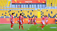 Players of North Korea during a training session at the FIFA Women's World Cup at the FIFA Stadium in Dresden, Germany on June 27th, 2011.