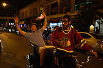 Chicago Blackhawks fans celebrate their Stanley Cup championship victory on the streets of the Wrigleyville neighborhood in Chicago, Illinois on June 25, 2013.