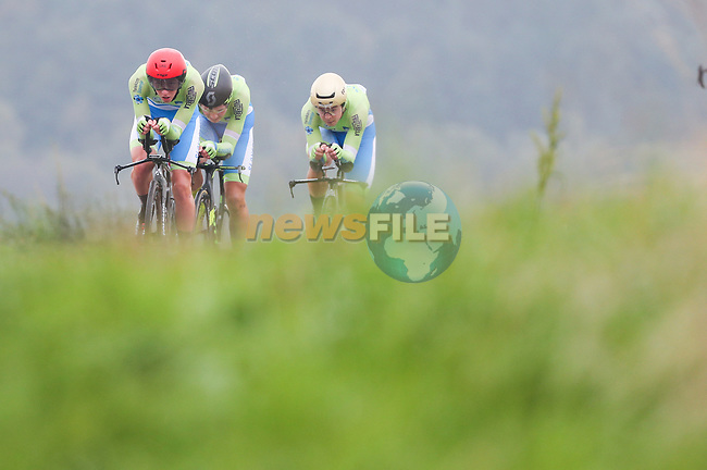 Tadej Pogacar, Jaka Primozic and Jan Tratnik of Slovenia in action during the Team Time Trial Mixed Relay in Harrogate of the UCI World Championships 2019 running from Harrogate to Harrogate, England. 22nd September 2019.<br /> Picture: Alex Whitehead/SWPix.com | Cyclefile<br /> <br /> All photos usage must carry mandatory copyright credit (© Cyclefile | Alex Whitehead/SWPix.com)