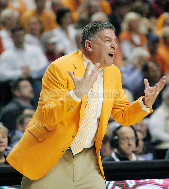 Tennessee head coach Bruce Pearl yells at his players in the first half of UK's 74-45 win over Tennessee at Bridgestone Arena in Nashville, TN during the SEC Semifinals on Saturday, March 13, 2010. Photo by Britney McIntosh   Staff