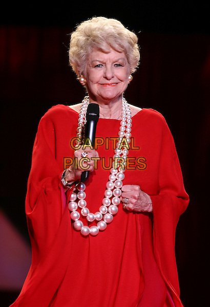 ELAINE STRITCH.The Heart Truth Red Dress Collection Fashion Show .The Olympus Fashion Week,.New York, New York, USA,.3rd February 2006..half Length runway catwalk celebrity modelling .Ref: IW .www.capitalpictures.com.sales@capitalpictures.com.©Capital Pictures