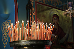 "Israel, Jerusalem, the Greek Orthodox Feast of the Assumption, candles at the ""Metochion of Getsemane"""