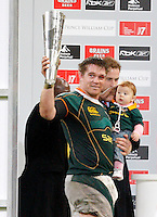 Photo: Richard Lane/Richard Lane Photography..Wales v South Africa. Prince William Cup. 24/11/2007. .South Africa captain, John Smit lifts the Prince William Cup from Prince William.