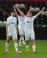 Pictured: George Byers of Swansea City (R) celebrate his team's win Monday 15 May 2017<br /> Re: Premier League Cup Final, Swansea City FC U23 v Reading U23 at the Liberty Stadium, Wales, UK