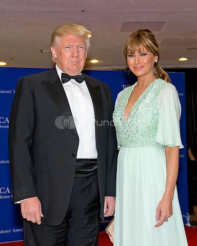 Donald and Melania Trump arrive for the 2015 White House Correspondents Association Annual Dinner at the Washington Hilton Hotel on Saturday, April 25, 2015.<br /> Credit: Ron Sachs / CNP/MediaPunch