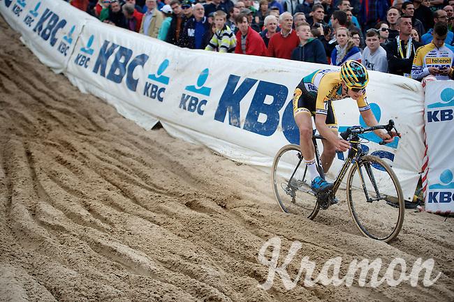 "Quinten Hermans (BEL/Telenet-Fidea) into ""The Pit"" in the U23 race<br /> <br /> GP Zonhoven 2014"