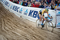 Quinten Hermans (BEL/Telenet-Fidea) into &quot;The Pit&quot; in the U23 race<br /> <br /> GP Zonhoven 2014