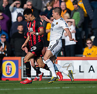 Wolverhampton Wanderers' Ryan Bennett (right) battles with Bournemouth's Dominic Solanke (left) <br /> <br /> Photographer David Horton/CameraSport<br /> <br /> The Premier League - Bournemouth v Wolverhampton Wanderers - Saturday 23 February 2019 - Vitality Stadium - Bournemouth<br /> <br /> World Copyright © 2019 CameraSport. All rights reserved. 43 Linden Ave. Countesthorpe. Leicester. England. LE8 5PG - Tel: +44 (0) 116 277 4147 - admin@camerasport.com - www.camerasport.com