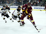 SIOUX FALLS, SD - MARCH 23: Mikey Anderson #3 from Minnesota Duluth controls the puck in front of Nicholas Rivera #23 from Mankato during their game at the 2018 West Region Men's NCAA DI Hockey Tournament at the Denny Sanford Premier Center in Sioux Falls, SD. (Photo by Dave Eggen/Inertia)