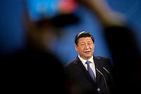 Der Staatspr&auml;sident der Volksrepublik China, Xi Jinping gibt am Freitag (28.03.14) in Berlin eine Pressekonferenz.<br /> Foto:Axel Schmidt/CommonLens