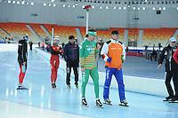 SPEEDSKATING: SOCHI: Adler Arena, 18-03-2013, Bob de Jong (NED), Jillert Anema (trainer/coach BAM team), © Martin de Jong