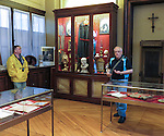 VMI Vincentian Heritage Tour: The Rev. Edward Udovic, C.M., leads members of the Vincentian Mission Institute through the museum at the Motherhouse of the Congregation of the Mission in Paris Tuesday, June 21, 2016. The Salle des Reliques (Musee Vincentien) displays many items used by Vincent de Paul, Louise de Marillac and other members of the Congregation of the Mission and the Daughters of Charity. Most noteworthy is a miniature painting of Saint Vincent, one of the very few authentic likenesses of him painted during his life. (DePaul University/Jamie Moncrief)