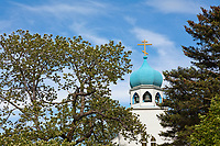Historic Russian Orthodox church located in downtown Kodiak, on Kodiak Island, Alaska.