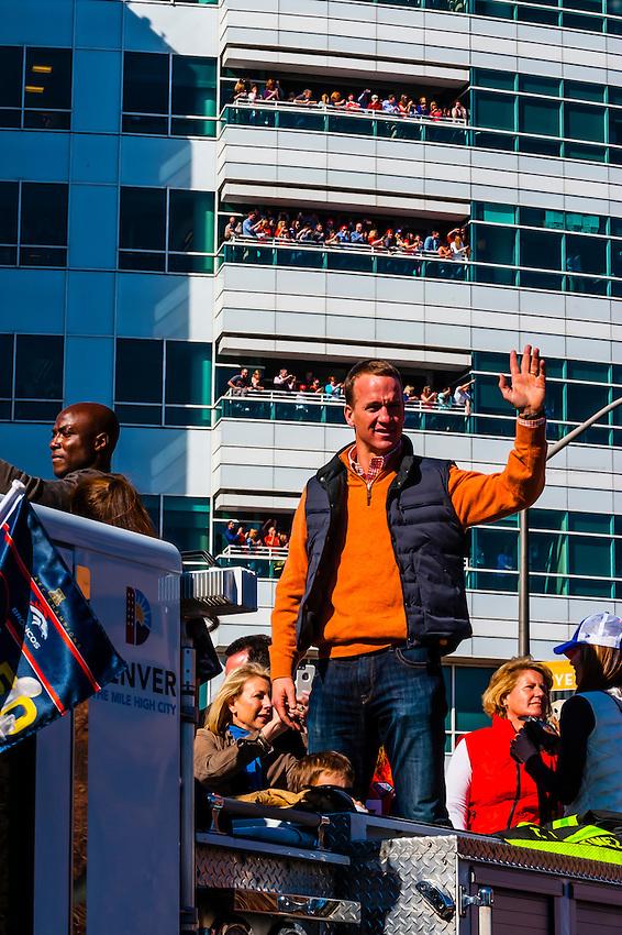 Quarterback Peyton Manning, Denver Broncos Super Bowl 50 Victory Parade, Downtown Denver, Colorado USA. An estimated 1 million people came to the parade and rally.