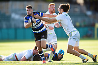 Josh Lewis of Bath United fends Mike Ellery of Saracens Storm. Aviva A-League match, between Bath United and Saracens Storm on September 1, 2017 at the Recreation Ground in Bath, England. Photo by: Patrick Khachfe / Onside Images