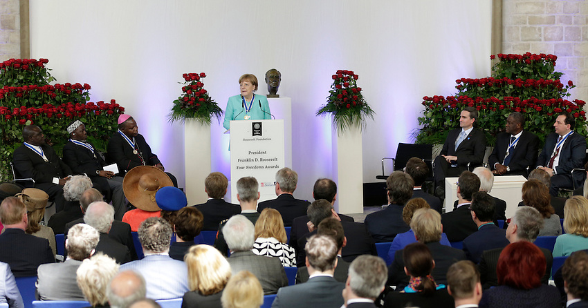 German Chancellor Angela Merkel speaks after receiving the International Four Freedoms Award at the Nieuwe Kerk in Middelburg, The Netherlands, April 21, 2016. REUTERS/Michael Kooren