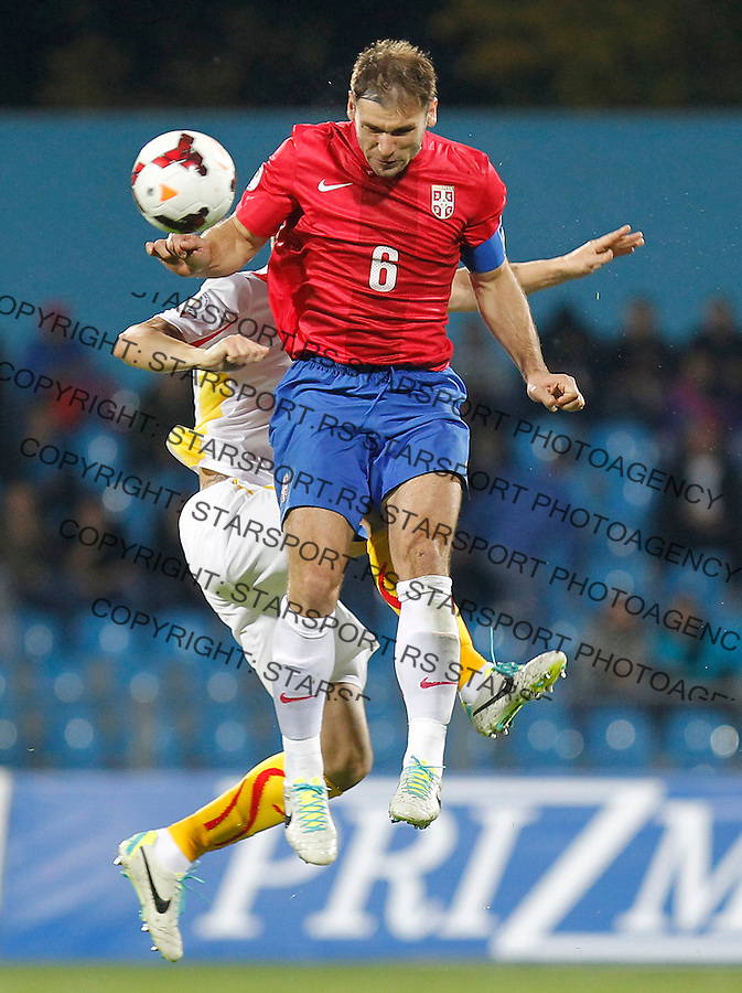 Fudbal Soccer<br /> World Cup 2014 qualifiers match<br /> Serbia v Macedonia<br /> Branisla Ivanovic (R)<br /> Jagodina, 15.10.2013.<br /> foto: Srdjan Stevanovic/Starsportphoto &copy;