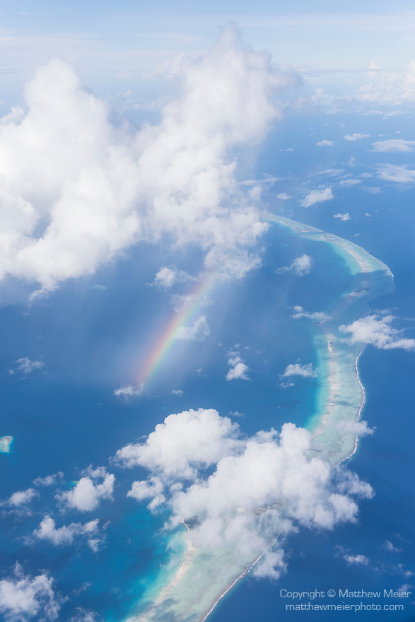 Arutua Atoll, Tuamotu Archipelago, French Polynesia; aerial views of the Arutua Atoll while flying south from Rangiroa to Fakarava