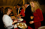 'WARWICKSHIRE HUNT BALL', TYSOE MANOR, YOUNG WOMAN IN RED DRESS IS SERVED FULL ENGLISH BREAKFAST BY THE CATERERS