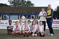 Kelly Carter of Essex presents the U11's with the Lady Taverners Cup during Upminster CC vs Essex CCC, Benefit Match Cricket at Upminster Park on 8th September 2019