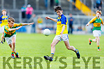 Feale Rangers Robert Heffernan attempts to shoot despite the attention from Padraig Mangan in the U14 County District Football Championship Cup final.