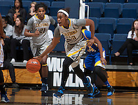 Mercedes Jefflo of California dribbles the ball during the game against Bakersfield at Haas Pavilion in Berkeley, California on December 15th, 2013.  California defeated Bakersfield Roadrunners, 70-51.