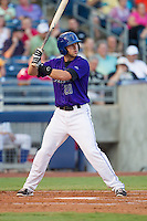 Tulsa Drillers third baseman Jayson Langfels (28) at bat during the Texas League game against the Frisco RoughRiders at ONEOK field on August 15, 2014 in Tulsa, Oklahoma  The RoughRiders defeated the Drillers 8-2.  (William Purnell/Four Seam Images)