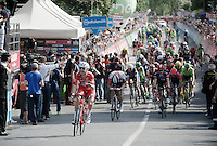 """Giacomo Nizzolo (ITA/Trek-Segafredo) wins the bunch sprint but couldn't catch the late escapée Roger Kluge (DEU/IAM & now behid him)...<br /> """"What just happened?"""" <br /> <br /> stage 17: Molveno-Cassano d'Adda 196km<br /> 99th Giro d'Italia 2016"""